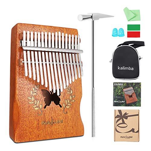Piano à pouces NASUM Kalimba, instrument en forme de papillon Karimba, piano à 17 doigts massif, bois d'acacia, avec outil d'accord, cadeau pour instrument de musique 1